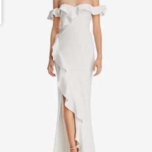 Miller Off-the-Shoulder Gown in white size 8